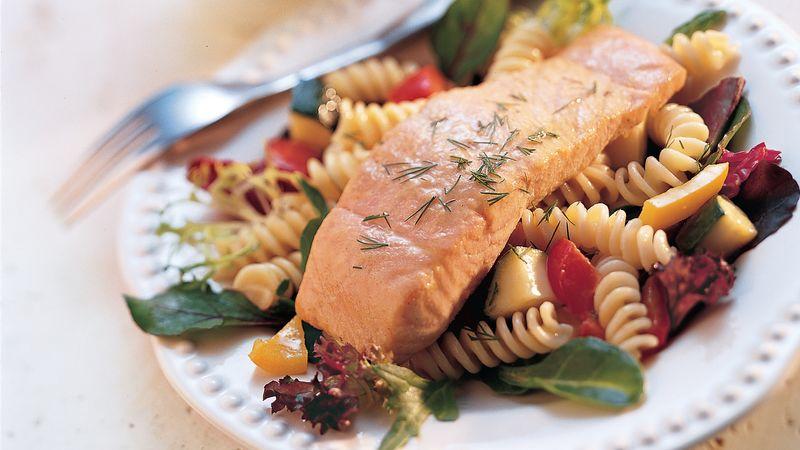Honey-Mustard Grilled Salmon and Pasta Salad