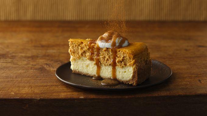 Pumpkin Cheesecake with Caramel Sauce