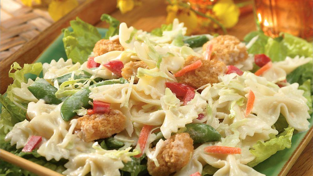 Crispy Fish-Asian Pasta Salad