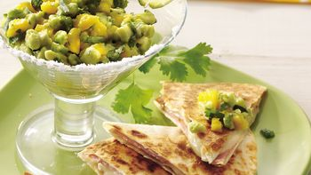Brie Quesadillas with Mango Guacamole
