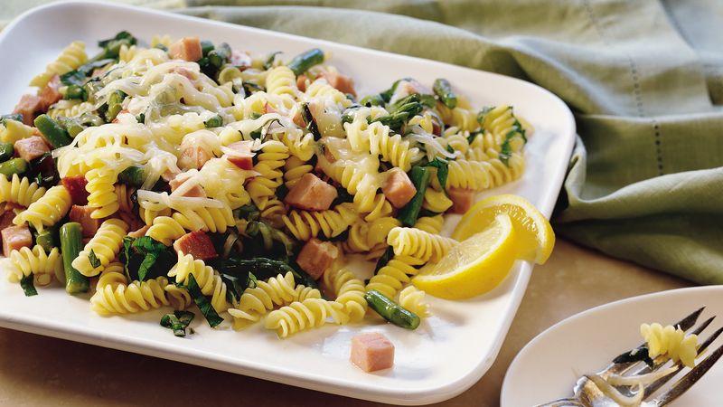 Lemon-Basil Pasta with Ham