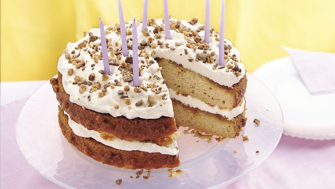 Cream-Filled Butter Pecan Birthday Cake