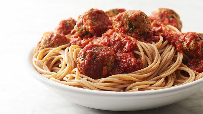 Turkey Kale Meatballs and Spaghetti