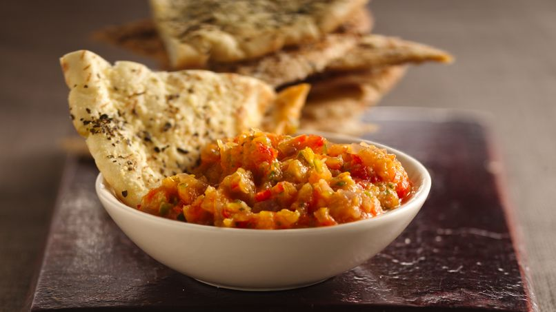 Roasted Vegetable Dip with Baked Pita Crisps