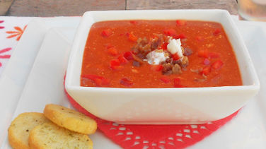 Tomato Soup with Bacon and Yogurt