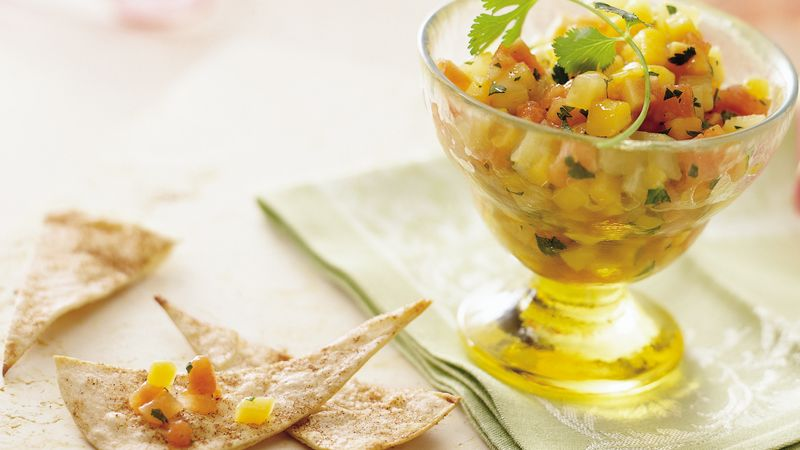 Gingered Fruit Salsa with Crispy Cinnamon Chips