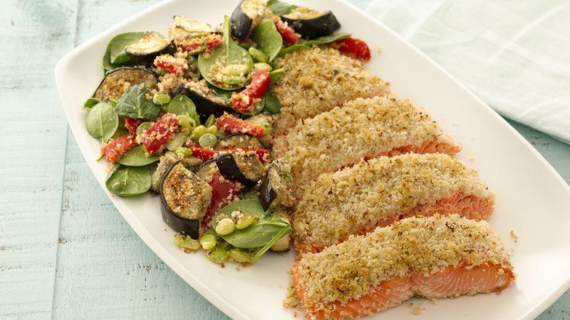 Mediterranean Breaded Salmon with Vegetables