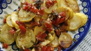 Grilled Summer Squash with Tomatoes, Garlic and Scallions