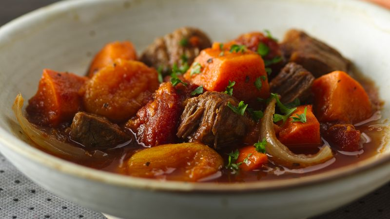 Slow-Cooker Colombian Beef and Sweet Potato Stew recipe from Betty