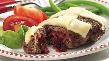 Personal Pizza-Stuffed Grilled Meatloaves