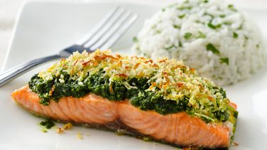 Cilantro Pesto Crusted Salmon