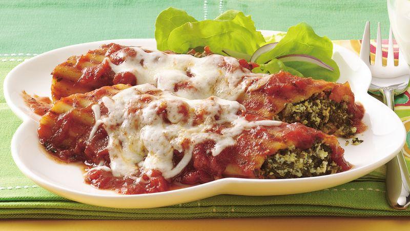 Cheesy Spinach Manicotti