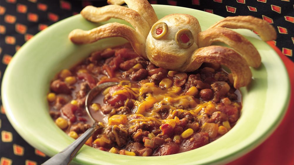 Cauldron of Chili with Spider Breads
