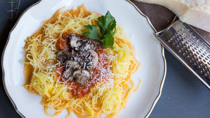 Spaghetti Squash with Mushrooms and Marinara