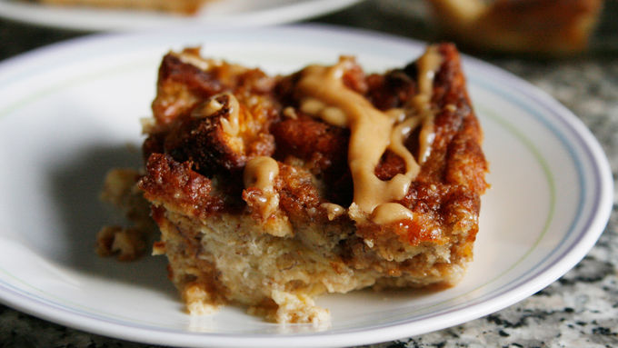 Banana Bread Pudding with Peanut Butter Drizzle