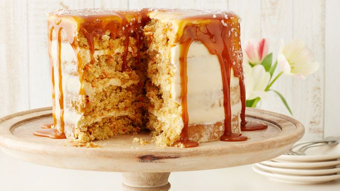 Carrot Cake with Salted Caramel-Cream Cheese Frosting
