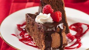 Decadent Chocolate Cake with Raspberry Sauce