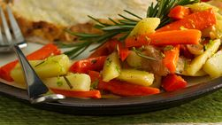 Carrots, Sweet Potatoes and Onion with Rosemary