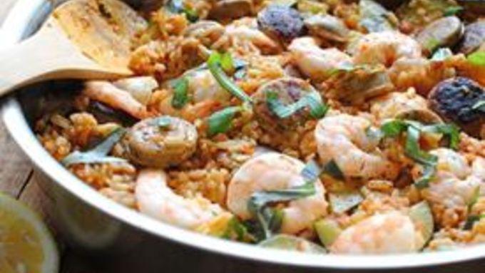 Paella with Zucchini, Shrimp and Chicken