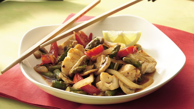 Halibut and Asparagus Stir-Fry