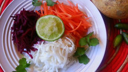 Jicama Salad with Beets, Carrots and Finger Lime