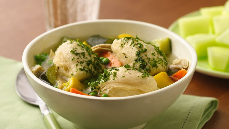 Summer Chicken Soup with Biscuit Dumplings