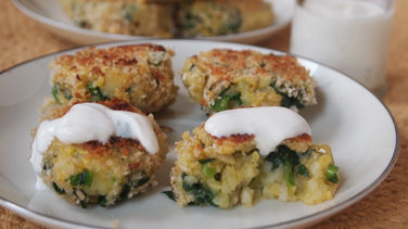 Bite-Size Kale and Potato Patties with Yogurt Sauce