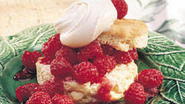 White Chocolate Shortcakes with Raspberries