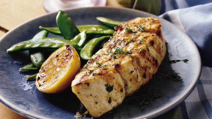 Grilled Lemon Garlic Halibut Steaks