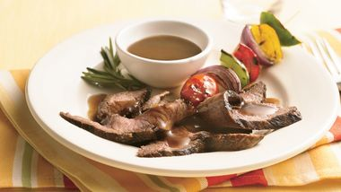 Grilled Flank Steaks with Rosemary-Balsamic Glaze