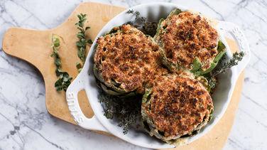Brie-Stuffed Baked Artichokes recipe from Betty Crocker