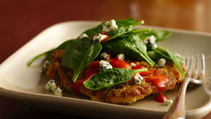 Spinach-Topped Buffalo Chicken