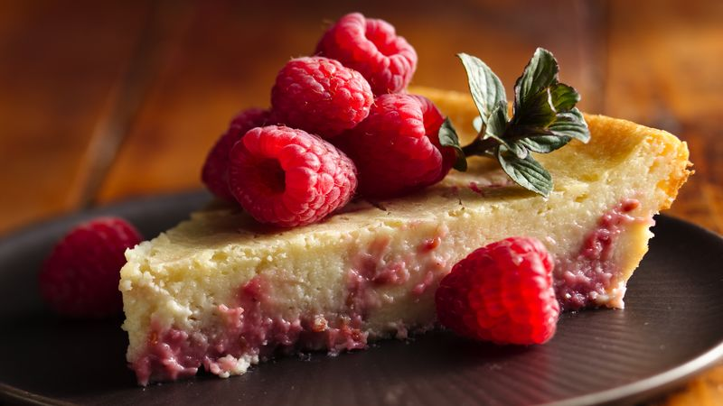 Impossibly Easy Raspberry Swirl Cheesecake