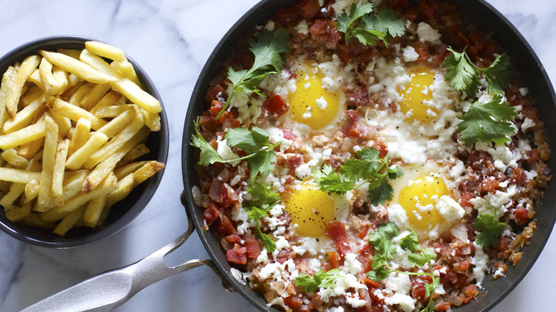 French Fries with Eggs and Tomatoes