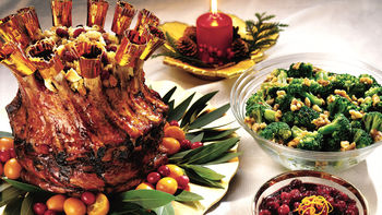 Cranberry-Apple Glazed Crown Pork Roast with Cranberry Cornbread Stuffing