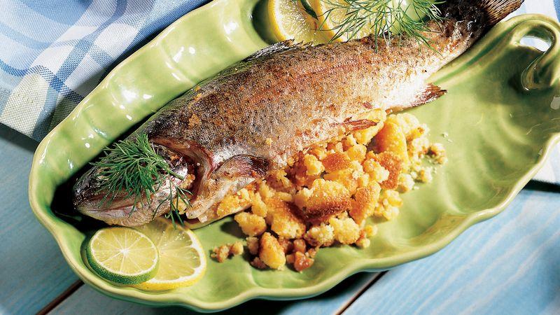 Cornbread-Pecan Stuffed Fish