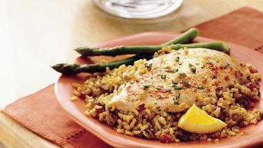 Chicken with Orange-Pecan Rice