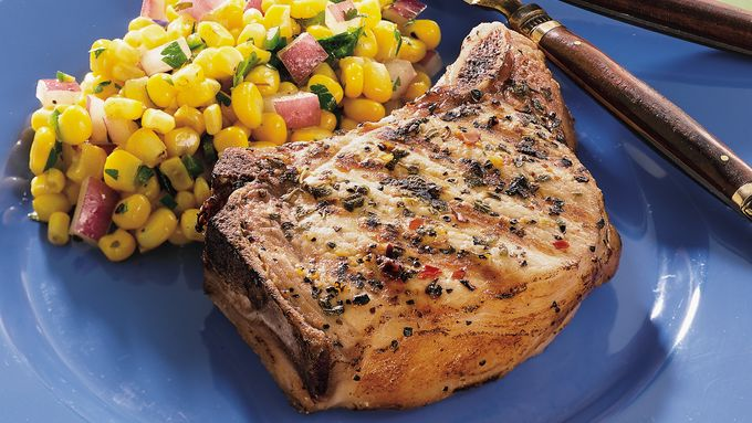Grilled Pork Chops with Spicy Corn