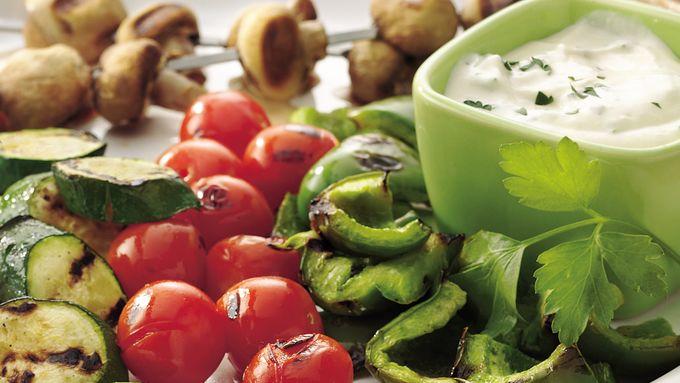 Vegetable Kabobs with Mustard Dip