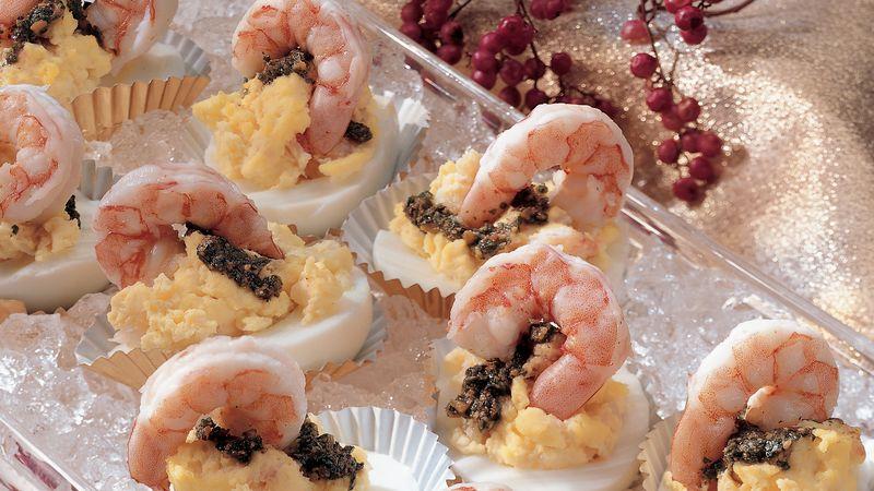 Pesto Eggs with Shrimp