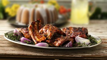 Grilled Ribs with Cherry Cola Barbecue Sauce recipe from ...