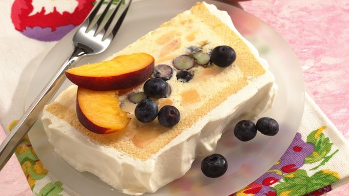 Peaches and Blueberry Ice Cream Cake