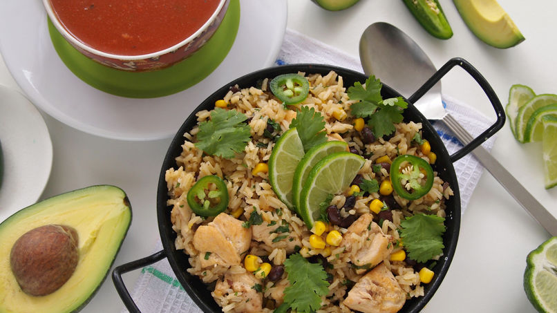 Rice with Lemon Chicken, Cilantro and Black Beans