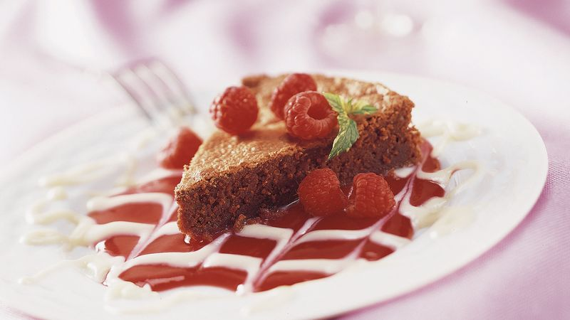 Brownie Torte with Raspberry Sauce