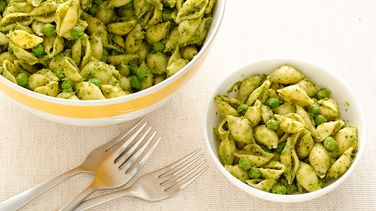 Pesto Shells and Peas Pasta