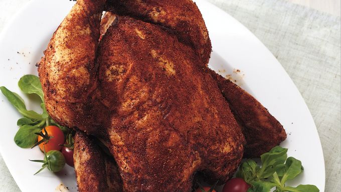 Grilled Beer-Can Chicken with Spicy Chili Rub