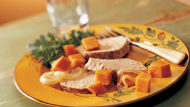 Slow-Cooker Garlic Pork Roast and Sweet Potatoes