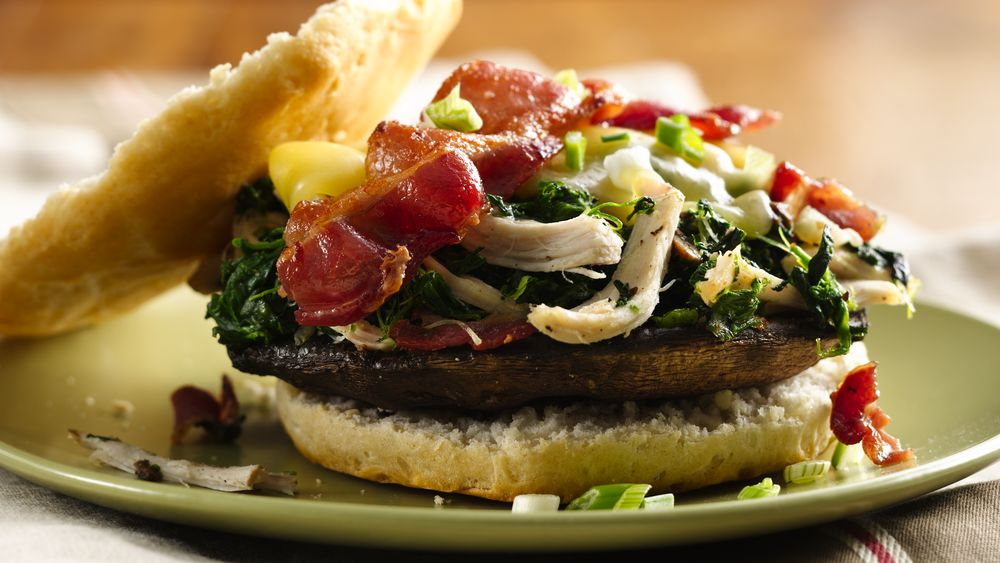 Chicken Bacon Portabella Burgers