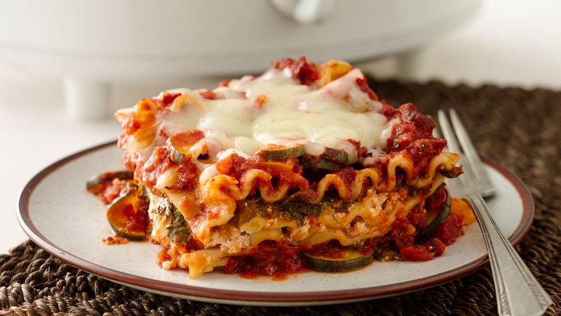 Skinny Slow Cooker Spinach Lasagna