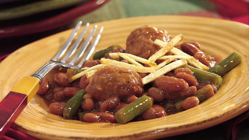 Crispy Topped Meat And Baked Beans